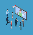 business people with megaphones and tv show vector image vector image