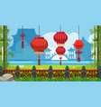 chinese theme background with red lanterns vector image