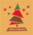 christmas greeting card with tree vector image