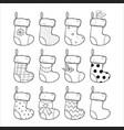 christmas stockings set hand drawn vector image vector image