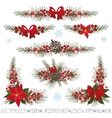 ChristmasNew year garlandborderscorner set vector image