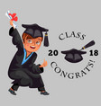 class of 2018 congrats colorful flat poster with vector image vector image