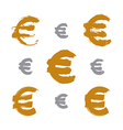 Collection of hand-painted yellow Euro icons vector image