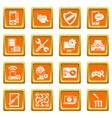 computer repair service icons set orange square vector image vector image