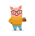 cute happy pig dressed up in sweater and jeans vector image vector image