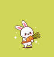 cute rabbit holding carrot happy easter bunny vector image
