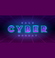 cyber monday sale retrowave style banner neon vector image