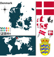 Denmark map world vector image vector image