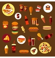 Fast food and takeaway drinks icons vector image