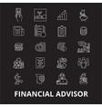 financial advisor editable line icons set vector image vector image