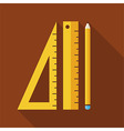 Flat Measure Drawing Instruments with long Shadow vector image
