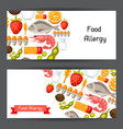 food allergy banners with allergens and symbols vector image