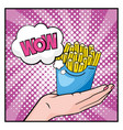 french fries in woman hands and wow message vector image vector image