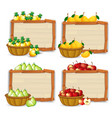 fruit on wooden banner vector image