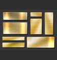 gold plates realistic golden metal banners 3d vector image