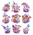 groups of decorative mushrooms vector image vector image