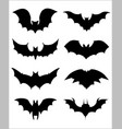 halloween icons set of bats in black vector image