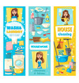 house cleaning laundry and kitchen washing vector image vector image