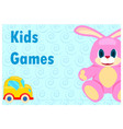 kids games poster of pink hare and yellow car vector image