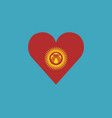 kyrgyzstan flag icon in a heart shape in flat vector image vector image