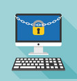 lock and chain on desktop and keyboard vector image vector image