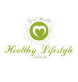 loving heart decorated with green leaves wellness vector image vector image