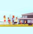 neighbors party cartoon vector image