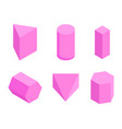 pink prisms set of six geometric figures banner vector image vector image