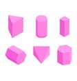 pink prisms set of six geometric figures banner vector image