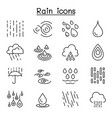 rain icon set in thin line style vector image vector image