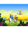 Riders on the horse and donkey ride to the mill vector image
