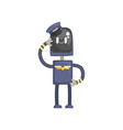 robot pilot character android in blue uniform and vector image vector image