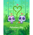 Romantic couple panda cute vector image vector image