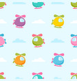 seamless pattern with colorful helicopters vector image