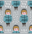 seamless pattern with cute children boys vector image