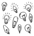 set light bulbs cartoon doodle icon symbol vector image