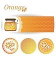 set of rectangular and round stickers for orange vector image