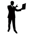 silhouette of a man presenting a report vector image vector image