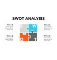 swot analysis square puzzle infographic vector image vector image