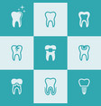 tooth teeth set of nine colored icons vector image