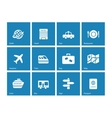 Travel icons on blue background vector image vector image