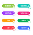 trendy buttons for website shop vector image