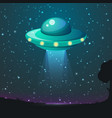 Ufo light alien sky beams ufo spaceship vector image