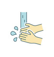 washing hands line color icon on white background vector image vector image