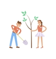 young volunteers man and woman vector image vector image