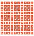 100 digital marketing icons set grunge orange vector image vector image