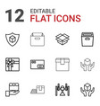 12 parcel icons vector image vector image