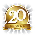 20th anniversary badge gold vector image