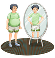 a fat man outside the mirror and skinny man vector image