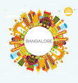 bangalore skyline with color buildings blue sky vector image vector image